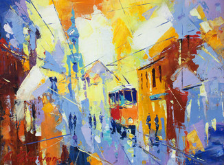 Plakat an original oil painting on canvas cubism style, parto of cubism landscapes collection, jut and ordinary day in the city, urban, city life,.