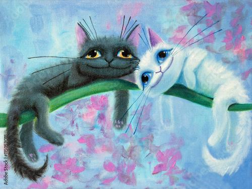 oryginalny obraz na płótnie białych i czarnych śmiesznych kotów o dużych oczach, radości i radosnym nastroju, część kolekcji ..