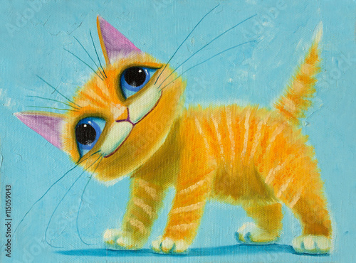 an original painting on canvas orange funny cat with big eyes, joy and happy mood, part of collection. - 115059043