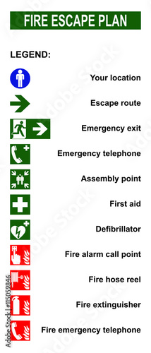 Obraz na płótnie Set of symbols for fire escape evacuation plans