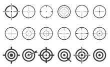 Target Set Icons Sight Sniper Symbol Isolated On A White Background, Crosshair And Aim Vector Illustration Stylish For Web Design EPS10