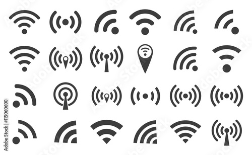 Cuadros en Lienzo  WI-FI set icons silhouettes and wireless connection airwaves isolated on a white