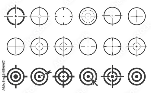 Cuadros en Lienzo  Target set icons sight sniper symbol isolated on a white background, crosshair a