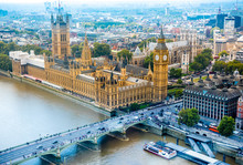 Aerial View Of London Skyline, UK.