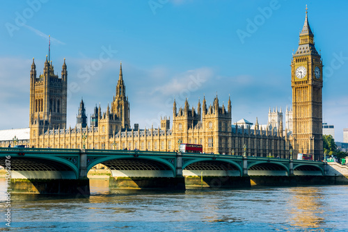 Westminster Bridge and Houses of Parliament with Thames river. London, United Kingdom
