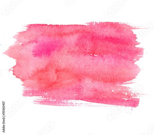 Różowa akwareli plama odizolowywająca na białym tle. Artystyczna farba
