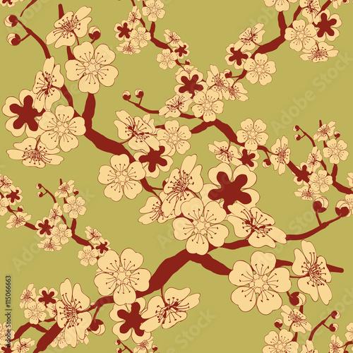 dachowka-bezszwowa-w-stylu-japonskim-z-galezia-wisniowego-drzewa-i-wzorem-kwiatow-w-odcieniach-zieleni-i-brazu-w-kolorze-kosci-sloniowej