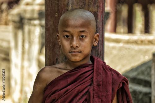 Photo  Novice boy Buddhist monk in  Burma