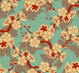 Fototapeta a Japanese style seamless tile with a cherry tree branch and flowers pattern in ivory and blue and red