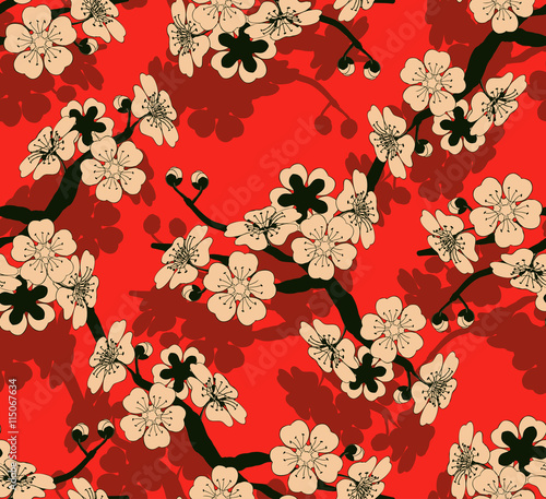 Tela  a Japanese style seamless tile with a cherry tree branch and flowers pattern in
