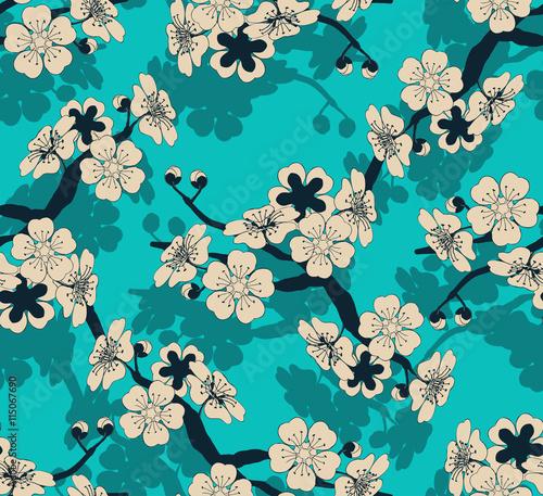 dachowka-bezszwowa-w-stylu-japonskim-z-galazka-wisni-i-wzorem-kwiatow-w-odcieniach-kosci-sloniowej-i-niebieskiego
