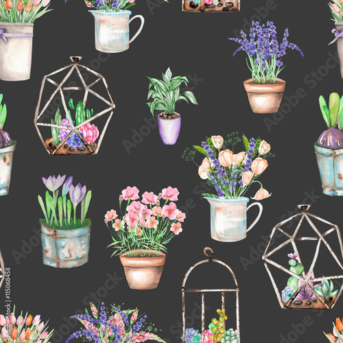 Cotton fabric A seamless pattern with bouquets of wildflowers in a rustic pots and florariums with succulents, isolated hand drawn in a watercolor on a dark background