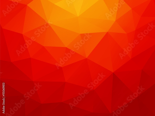 plakat low poly orange red background