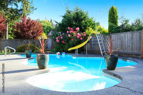 Fenced backyard with small beautiful swimming pool Tapéta, Fotótapéta