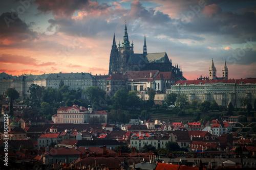 Photo Vltava river and St.Vitus Cathedral in Prague