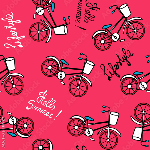 Materiał do szycia Różowy wzór retro rowerów.