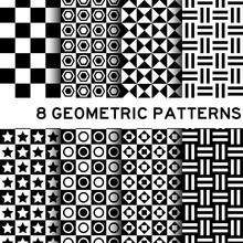 8 Black And White Basic Geomet...
