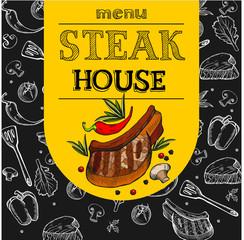 Fototapeta Do steakhouse Steak house. Vector illustration. The design of the menu. Steak drawn in chalk on a black Board. Hand drawn vector illustration.