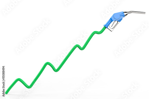 rising oil price with green graph and gas nozzle - Buy this