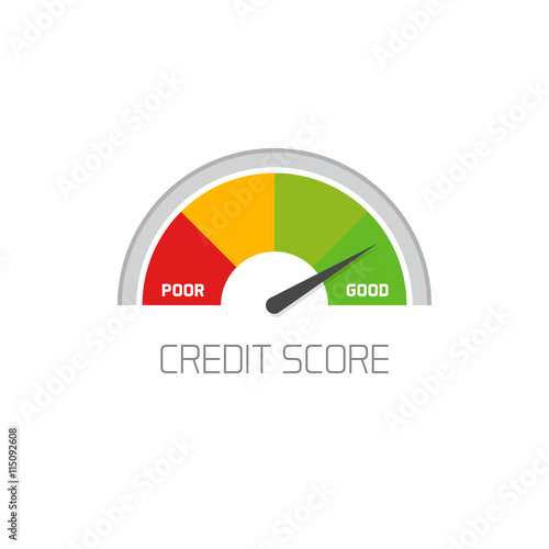 Fotografía  Credit score scale showing good value vector icon isolated on white background,