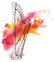 Pen And Ink Drawing Of Vintage Harp With Watercolor Stain
