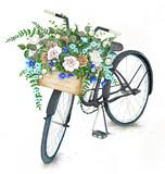 Pocztówkowy szablon z białym bicyklem i różanym koszem na textured tle. Format 5,25''x 7,25 '' z spadem - 115099870