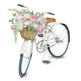 Akwarela ręcznie rysowane biały rower z pięknym koszem róż. Ilustracja na białym tle - 115099886