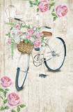 Pocztówkowy szablon z białym bicyklem i różanym koszem na textured tle. Format 4.25''x 6.25 '' z spadem - 115100031