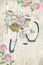 Postcard Template With White Bicycle And Rose Basket On Textured Background. 4.25''x 6.25'' Format With Bleed