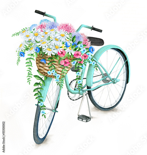 Fototapeta Watercolor hand drawn turquoise bicycle with beautiful flower basket Illustration isolated on white background