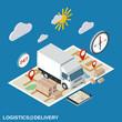 Logistics, delivery, transportation vector illustration