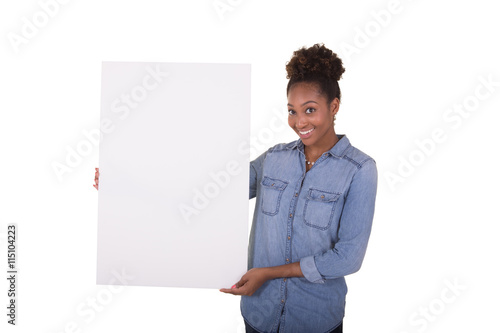 Fotografering  Young woman holding a poster board