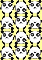 Naklejkaжелтый фон из панд