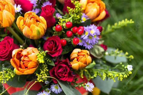 Fototapeta Beautiful bouquet of various flowers