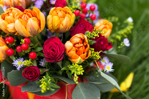 obraz dibond Beautiful bouquet of various flowers