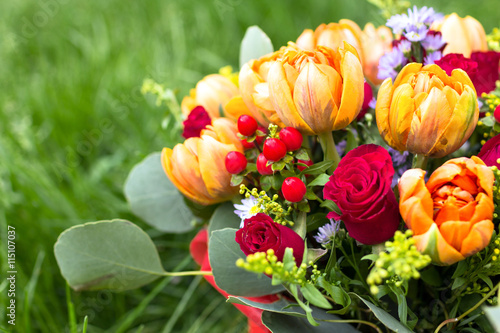 obraz lub plakat Beautiful bouquet of various flowers