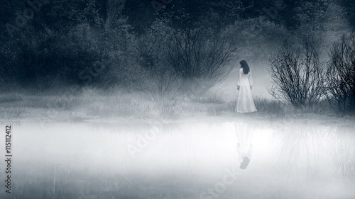 Lady at the lake, vintage filter - horror scene Canvas Print