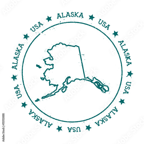 U S State Map Vector.Alaska Vector Map Retro Vintage Insignia With Us State Map