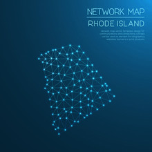 Rhode Island Network Map. Abstract Polygonal US State Map Design. Internet Connections Vector Illustration.