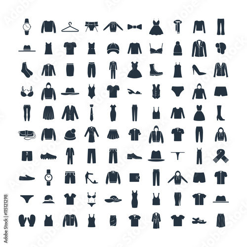 Clothes 100 icon set on white background Wall mural