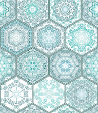 Blue Green Tiles Floor Ornament Collection Gorgeous Seamless Patchwork Pattern Colorful Painted Tin Glazed Ceramic Tilework Vintage Illustration Web Page Template Background Vector  Image.