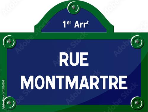 Fototapeta Panneau rue Montmartre 75001 Paris - Panneau rue parisienne - France