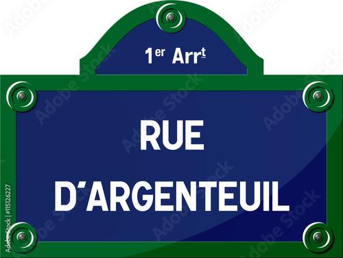 Panneau rue d'Argenteuil 75001 Paris - Panneau rue parisienne - France Wallpaper Mural