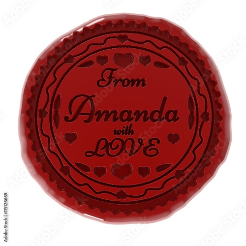 Photo 3d illustration of wax seal or stamp and from Amanda with love message