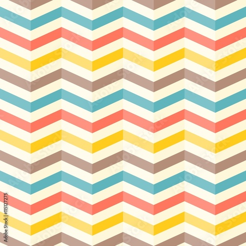 Fotobehang ZigZag colourful 3d chevron seamless pattern background, retro style