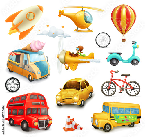 Staande foto Cartoon cars Funny cartoon transportation, cars and airplanes set of vector icons