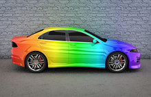 Car In Rainbow Colors