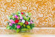 Bouquet Flower In The Vase In The Blurred Vintage Background