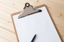 Wooden Clipboard On Wood Background