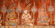 Ancient Buddhist Temple Mural Painting In Thailand